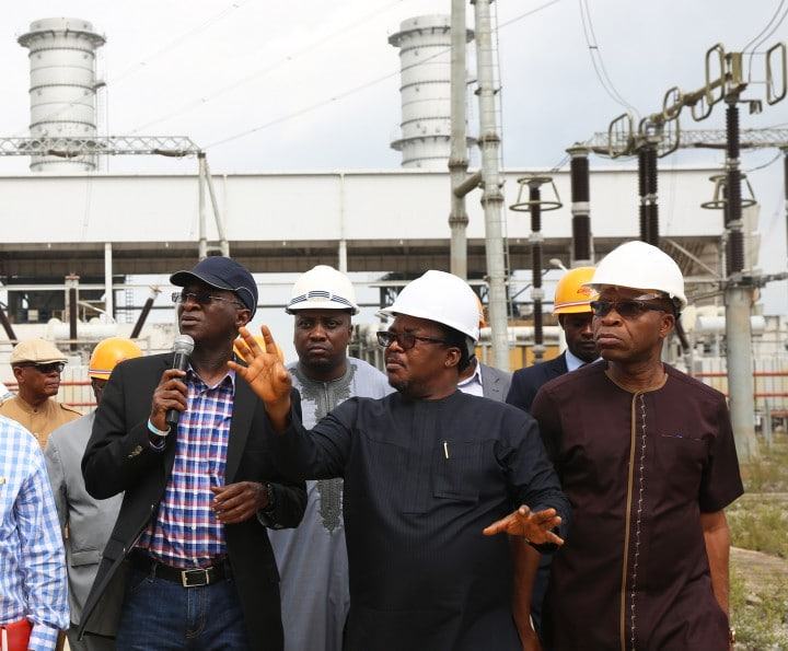 Hon. Minister of Power, Works & Housing, Mr Babatunde Fashola, SAN (left) being conducted round by the Managing Director,Niger Delta Power Holding Company Limited(NDPHC), Mr Chiedu Ugbo(middle) and General Manager, Generation, of the Company ,Mr Foluso Akarakiri (right) during the Hon.Minister 's inspection tour of the Omotosho Generation Company's Generation Plant in Ore, Ondo State on Day one of his inspection tour of Highway Projects in the South West Zone on Thursday 23,March 2017.