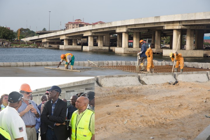 The ongoing  Rehabilitation of Access Road to Apapa/Tin Can Island Port - NNPC Depot (Atlas Cove) including the construction of a new bridge running parallel to the existing bridge from Liverpool Roundabout across Port Novo Creek in Lagos State. INSET: Hon. Minister of Power, Works & Housing, Mr Babatunde Fashola,SAN(2nd left),Director Highways, Construction and Rehabilitation, Engr. Yemi Oguntominiyi(left), Federal Controller of Works, Lagos State, Engr. Godwin Eke and Director of Borini Prono & Co. Nigeria Limited, Arc. Paolo Prono (2nd left) during the Hon. Minister's  inspection tour of the ongoing Rehabilitation of Access Road to Apapa/Tin Can Island Port - NNPC Depot (Atlas Cove) including the construction of a new bridge running parallel to the existing bridge from Liverpool Roundabout across Port Novo Creek in Lagos State on Day Three of his inspection tour of Highway Projects in the South West Zone of the country on  Saturday 25th, March 2017.