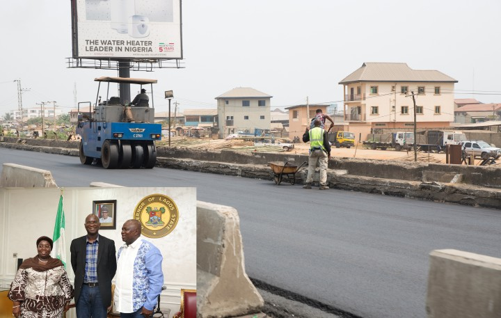 The ongoing  Rehabilitation, Reconstruction and Expansion of Lagos -Ibadan Expressway, Section I(Shagamu -Lagos). INSET: Hon. Minister of Power, Works & Housing, Mr Babatunde Fashola,SAN(middle), Governor of Lagos State, Mr Akinwunmi Ambode(right) and Deputy Governor of Lagos, Dr Idiat Oluranti Adebule(left) during the Hon. Minister's courtesy call after an  inspection tour of the  ongoing  Rehabilitation, Reconstruction and Expansion of Lagos -Ibadan Expressway, Section I(Shagamu -Lagos) on Day Three of his inspection tour of Highway Projects in the South West Zone of the country on  Saturday 25th, March 2017.