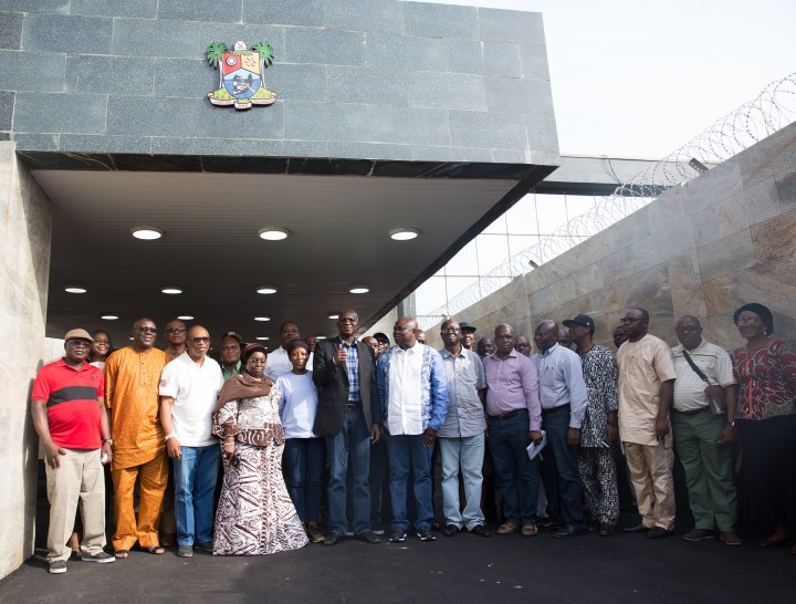 Hon. Minister of Power, Works & Housing, Mr Babatunde Fashola,SAN(middle), Governor of Lagos State, Mr Akinwunmi Ambode(right) and Deputy Governor of Lagos State, Dr Idiat Oluranti Adebule(left) and others in a group photograph shortly after  the Hon. Minister's courtesy call  after an inspection tour of the  ongoing construction work of the Rehabilitation, Reconstruction and Expansion of Lagos -Ibadan Expressway, Section I (Shagamu -Lagos) on Day Three of his inspection tour of Highway Projects in the South West Zone of the country on  Saturday 25th, March 2017.