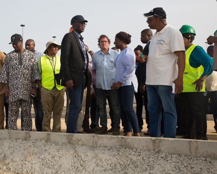 Hon. Minister of Power, Works & Housing, Mr Babatunde Fashola,SAN(3rd left), Director Highways, Construction and Rehabilitation, Engr. Yemi Oguntominiyi and others during the Hon. Minister's  inspection tour of the ongoing construction work on the Rehabilitation of Access Road to Apapa/Tin Can Island Port - NNPC Depot (Atlas Cove) including the construction of a new bridge running parallel to the existing bridge from Liverpool Roundabout across Port Novo Creek in Lagos State on Day Three of his inspection tour of Highway Projects in the South West Zone of the country on Saturday 25th, March 2017.