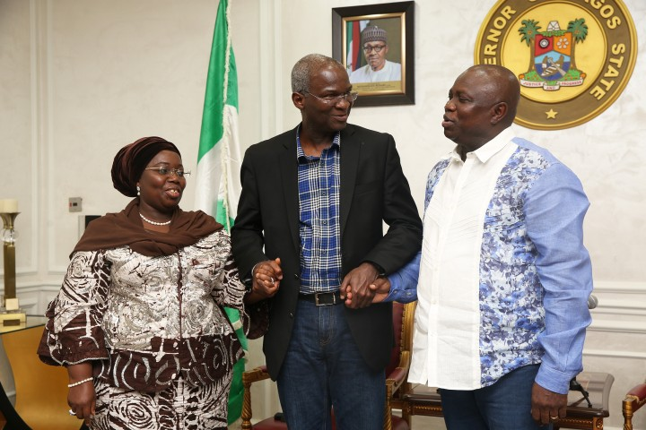Hon. Minister of Power, Works & Housing, Mr Babatunde Fashola,SAN(middle), Governor of Lagos State, Mr Akinwumi Ambode(right) and Deputy Governor of Lagos, Dr Idiat Oluranti Adebule(left) during the Hon. Minister's courtesy call after an  inspection tour of the  ongoing  Rehabilitation, Reconstruction and Expansion of Lagos -Ibadan dual carriageway, section I(shagamu -Lagos) on Day Three of his inspection tour of Highway Projects in the South West Zone of the country on  Saturday 25th, March 2017.