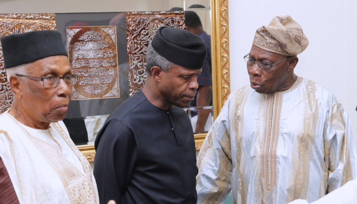 AG PRESIDENT OSINBAJO ATTENDS BIAFRA@50YRS AFTER FORUM. 2A&B. R-L; Former President Chief Olusegun Obasanjo, Acting President Yemi Osinbajo and Former Permanent Secretary Information, Education & Industry, Alhaji Ahmed Joda at a forum on Biafra 50 Years after held at the Shehu Musa Yar'Adua Centre in Abuja. PHOTO; SUNDAY AGHAEZE. MAY 25 2017.