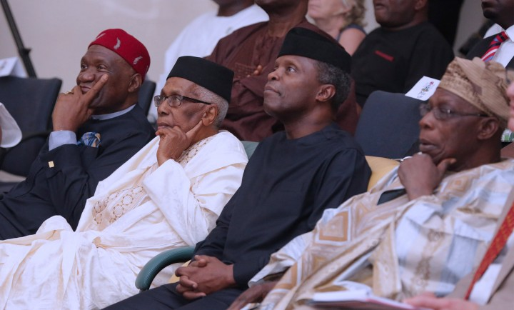 AG PRESIDENT OSINBAJO ATTENDS BIAFRA@50YRS AFTER FORUM. 3. R-L; Former President Chief Olusegun Obasanjo, Acting President Yemi Osinbajo, Former Permanent Secretary Information, Education & Industry, Alhaji Ahmed Joda, President Ohanaeze Ndigbo, Chief John Nnia Nwodo at a forum on Biafra 50 Years after held at the Shenu Musa Yar'Adua Centre in Abuja. PHOTO; SUNDAY AGHAEZE. MAY 25 2017.
