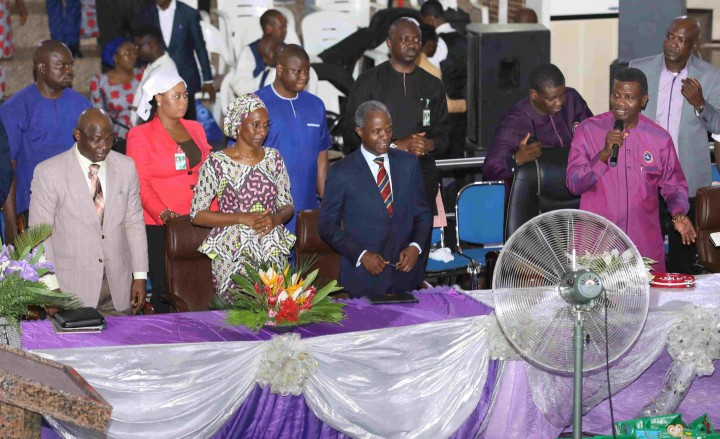 Acting President Yemi Osinbajo, His Wife Her Execellency Dolapo Osinbajo and Gen. Abayomi Gabriel Olonishakin Chief Of Defence Staff At the a day out With The God of Daddy G.O. Pastor E.A. Adeboye, a Programme By RCCG Region 10 Family Abuja At The National Christian Centre, Cbd Abuja. Sunday 14 May 2017.