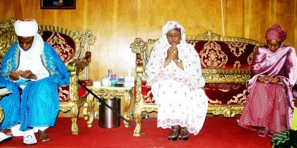 Aisha Buhari In Yola To Condole The Family of Elder Statesman Wazirin Adamawa