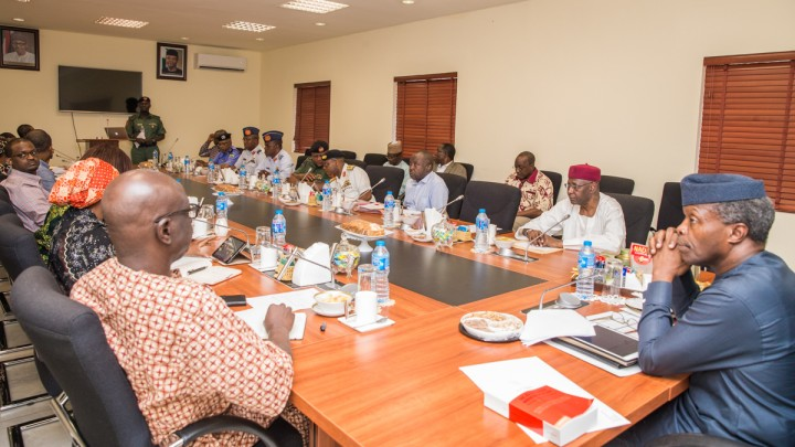 Acting President Yemi Osinbajo, SAN, with other top government officials at a recent strategic meeting on the multi-billion Naira North-East Grains distribution at the Presidential Villa. The distribution which kicks off tomorrow June 8, would be quarterly and address the food security situation in NE areas of the country impacted by the Boko Haram insurgency. Photo by: Novo Isioro.
