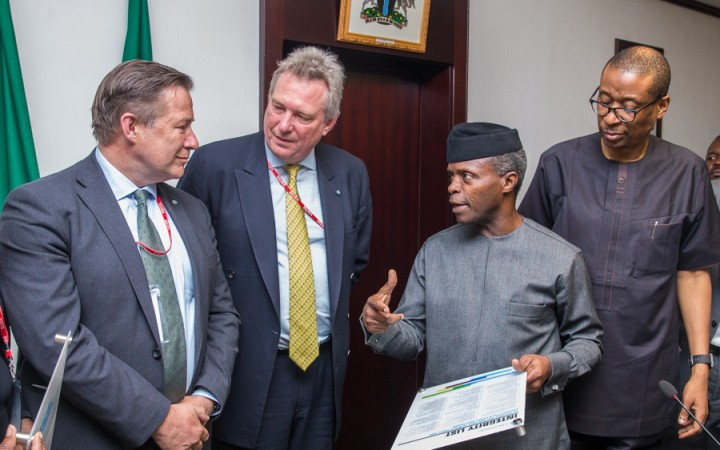 L-R: Mr. Gary Baker, MD EMEA Region, CFA Institute; Mr Paul Smith, President & CEO, CFA Institute; The Acting President Yemi Osinbajo, SAN and Hon. Min Industry, Trade and Investment Dr Okechukwu Enelamah
