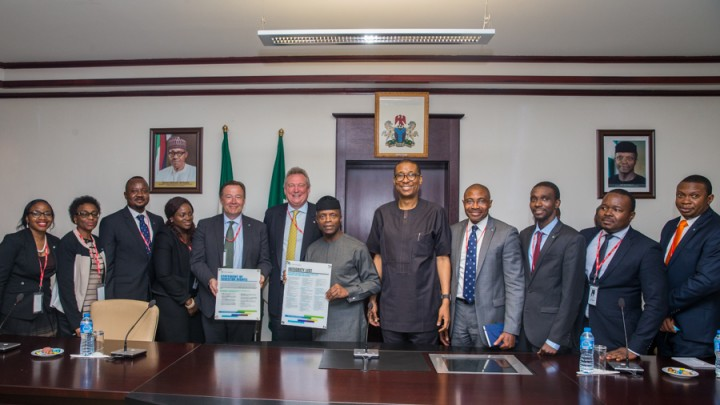 R-L: Acting President Yemi Osinbajo; Mr Paul Smith, President & CEO-CFA Institute; Mr. Gary Baker, MD EMEA Region-CFA Institute; Hon. Min. Industry, Trade and Investment, Dr Okechukwu Enelamah and other members of CFA Institute.