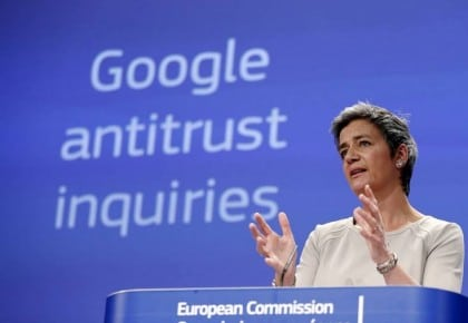 #Breaking EU Commission Fines Google €2.42bn For Abuse Of Search Dominance