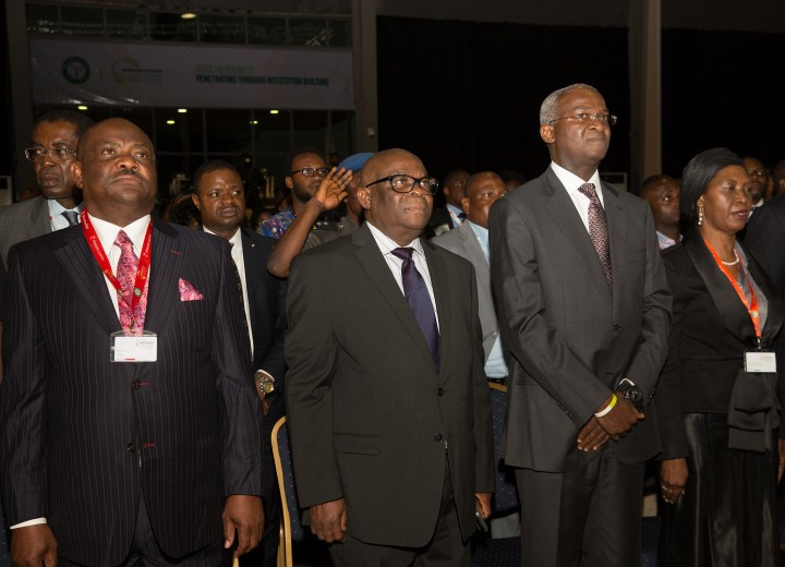 "Representative of the Vice President and Hon. Minister of Power, Works & Housing, Mr Babatunde Fashola,SAN, (2nd right), Chief Justice of Nigeria, Justice Walter Onoghen(2nd left), Governor of Rivers State, Chief Nyesom Ezenwo Wike (left)  and Justice Patricia Mahmoud(right) during the Opening Ceremony of the Nigerian Bar Association 2017 Annual General Conference with the theme, ""African Business: Penetrating Through Institution Building"", at the Landmark Centre, Eti – Osa, Lagos on Sunday 20th, August 2017."