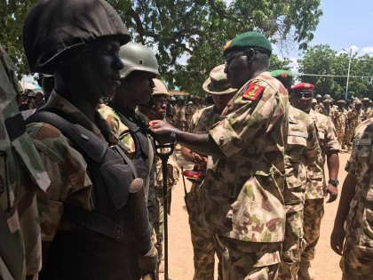 General Buratai Decorates Soldiers With Gallantry Medal At War Front