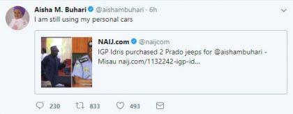 Aisha Buhari Replies Sen. Misau On Allegation of Receiving 2 SUVs From IGP