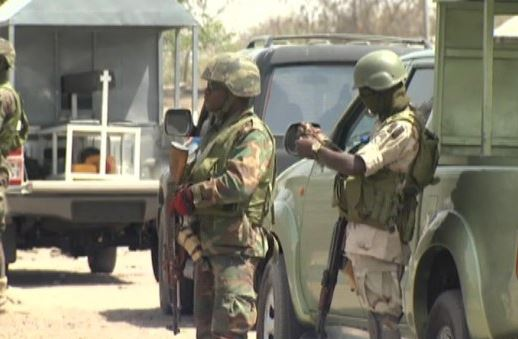 Troops of Exercise Ayem Akpatuma Seize Pump Action Rifle Displayed For Sale