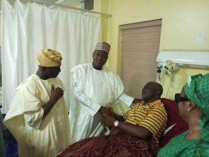 Speaker Dogara Visits Dino Melaye in Hospital
