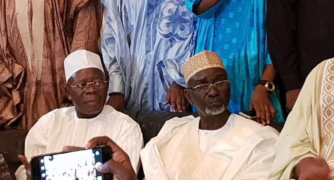 Oshiomole in Kano with Ibrahim Shekarau during official defection from PDP to APC