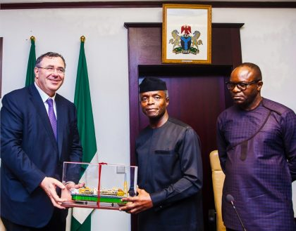 Total Strikes Deal with Nigeria's Oil & Gas Sector in Attendance are VP Osinbajo, Total CEO, Pouyanné and Minister of State for Petroleum Dr. Kachikwu