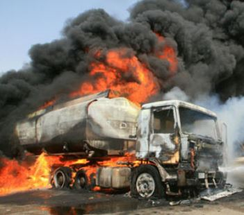 Petrol Tanker Burst into flame in Lagos