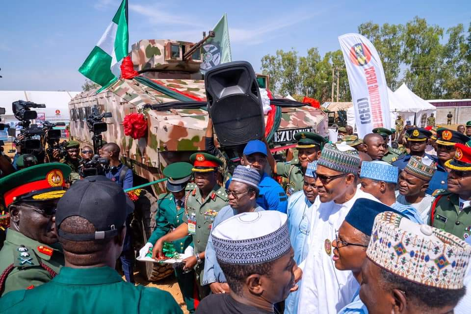 President Buhari Unveils More Indigenous Military Vehicles, Salutes Gallant Efforts in Routing Terrorists
